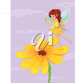 Illustration of a giant sunflower beside a fairy