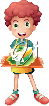 Illustration of a young boy with a slice of cake on a white background