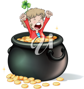 Illustration of a young boy inside a pot full of coins on a white background