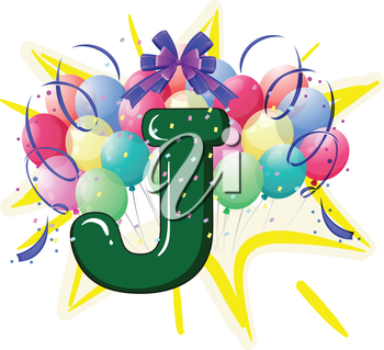 Illustration of balloons and celebration behind letter