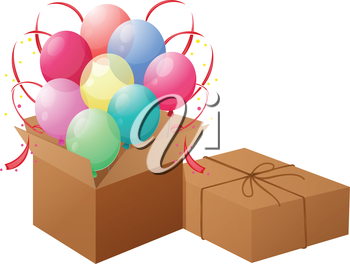 Illustration of the balloons with boxes on a white background