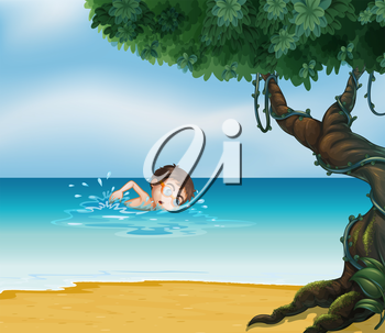Illustration of a boy swimming at the beach with an old tree