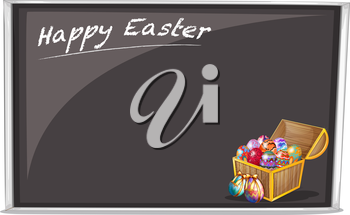 Illustration of a board with a Happy Easter Greeting on a white background
