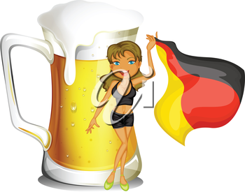 Illustration of a big mug of beer at the back of a lady holding the flag of Germany on a white background