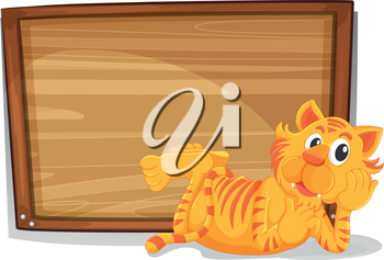Illustration of a tiger beside an empty wooden signage on a white background