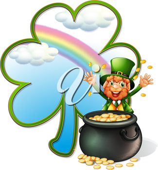 Illustration of a rich man with a pot of gold coins on a white background