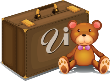 Illustration of a teddy bear beside a big bag on a white background