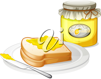 Illustration of a bottle of jam and a sandwich on a white background
