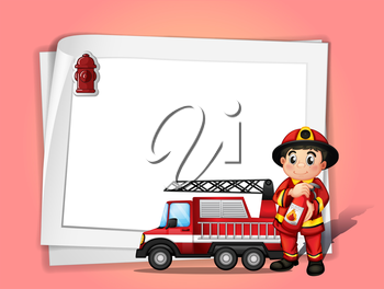 Illustration of a fireman holding a fire extinguisher beside his fire truck in front of a white blank paper