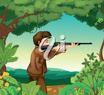 Illustration of a boy with a gun inside the forest
