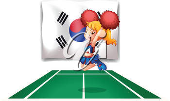 Illustration of the South Korean flag and the cheerdancer on a white background