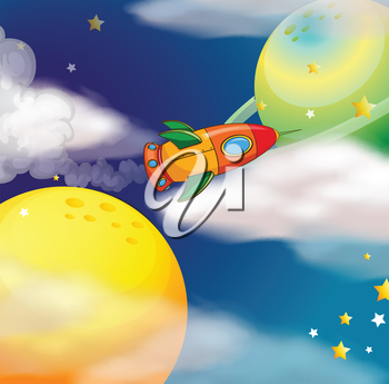 Illustration of a spaceship at the space