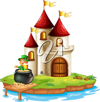 Illustration of a man inside a pot of gold in front of the castle on a white background