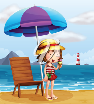 Illustration of a young woman eating an icecream at the beach