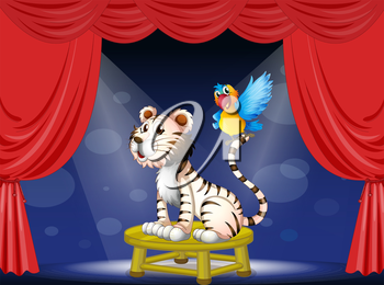 Illustration of a parrot standing at the tail of a tiger