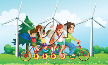Illustration of the five kids riding at the bike near the windmills