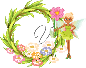 Illustration of a round border with a fairy holding a flower on a white background