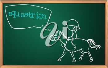 Illsutration of a blackboard with a drawing of an equestrian on a white background