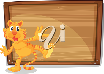 Illustration of a tiger in front of a blank board on a white background