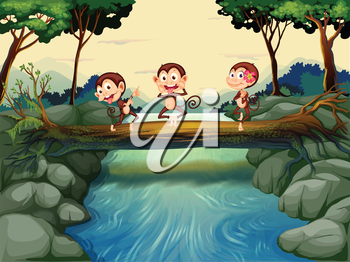 Illustration of the three monkeys crossing the river