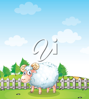 Illustration of a sheep inside the fence