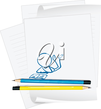 Illustration of a paper with a sketch of a person reading on a white background