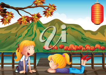Illustration of the two girls talking at the wooden bridge
