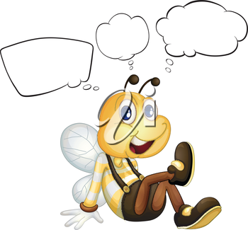 Illustration of a smiling bee with empty callouts on a white background