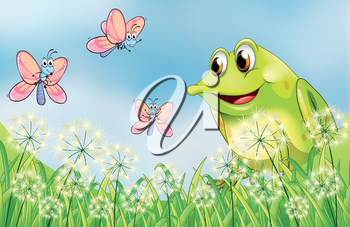 Illustration of a frog with three butterflies