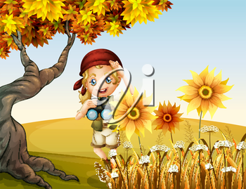 Illustration of a girl holding a telescope near the sunflowers