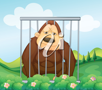 Illustration of a gorilla in a cage