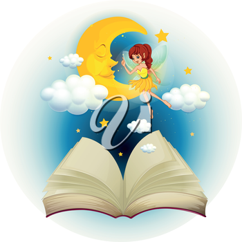 Illustration of a book with an image of a fairy and a sleeping moon on a white background