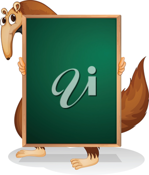 Illustration of a kangaroo holding an empty board on a white background
