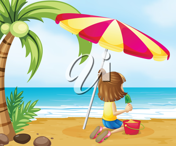 Illustration of a young girl playing with the castle at the beach