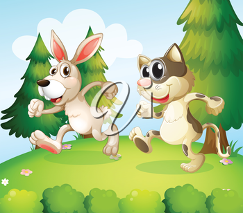 Illustration of a bunny and a cat running above the hill