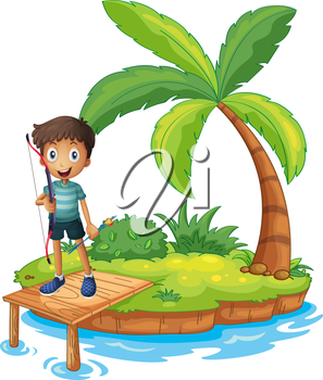 Illustration of an island with a boy holding an archery on a white background