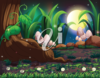 Illustration of an enchanted forest