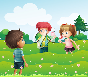 Illustration of the three kids at the top of the hills