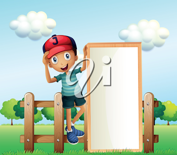Illustration of a boy standing at the fence wearing a cap holding an empty signage