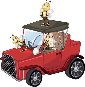 Illustration of a red car with bees on a white background