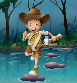 Illustration of an adventurer running with a map