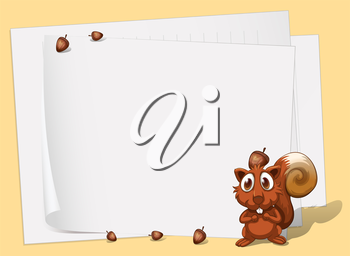 Illustration of a squirrel in front of the empty papers