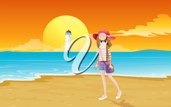 Illustration of a fashionable young girl at the beach