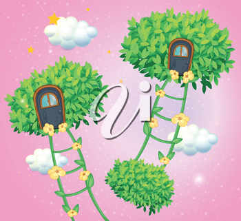 Illustration of the green ladders going to the sky