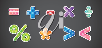 Illustration of the mathematical symbols on a gray background