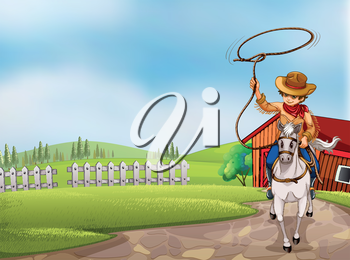 Illustration of a cowboy holding a rope riding on a horse