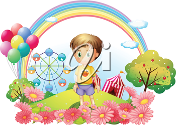 Illustration of a young boy at the hill with a garden and a carnival on a white background
