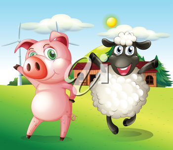 Illustration of a pig and a sheep dancing at the farm with a windmill