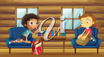 Illustration of a boy and a girl with their schoolbags inside the house