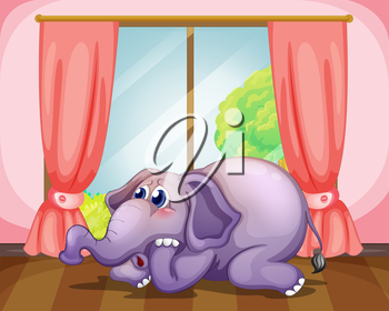 Illustration of a worried face of an elephant inside the room